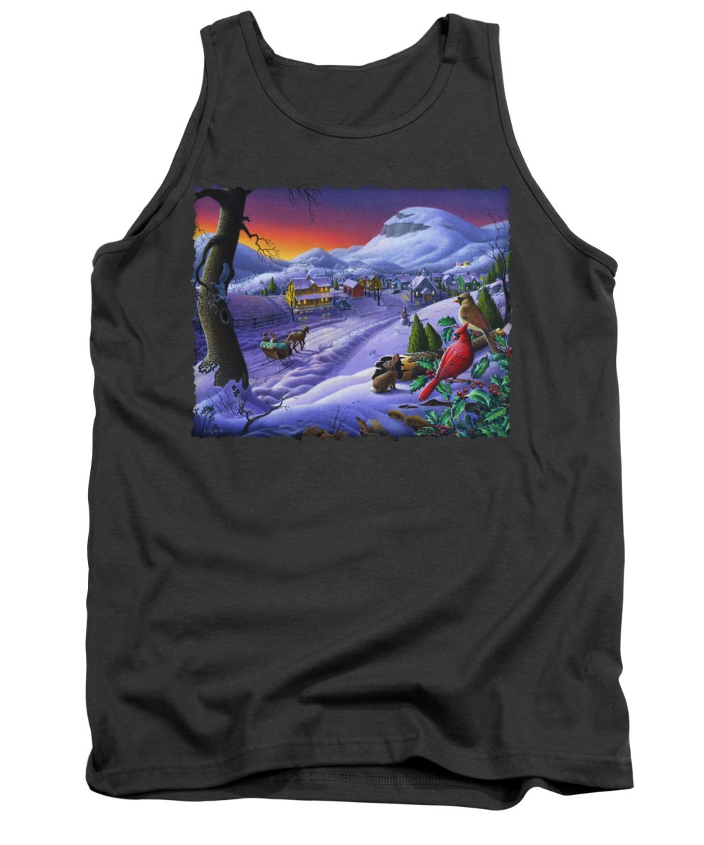 Christmas Tank Top featuring the painting Christmas Sleigh Ride Winter Landscape Oil Painting - Cardinals Country Farm - Small Town Folk Art by Walt Curlee