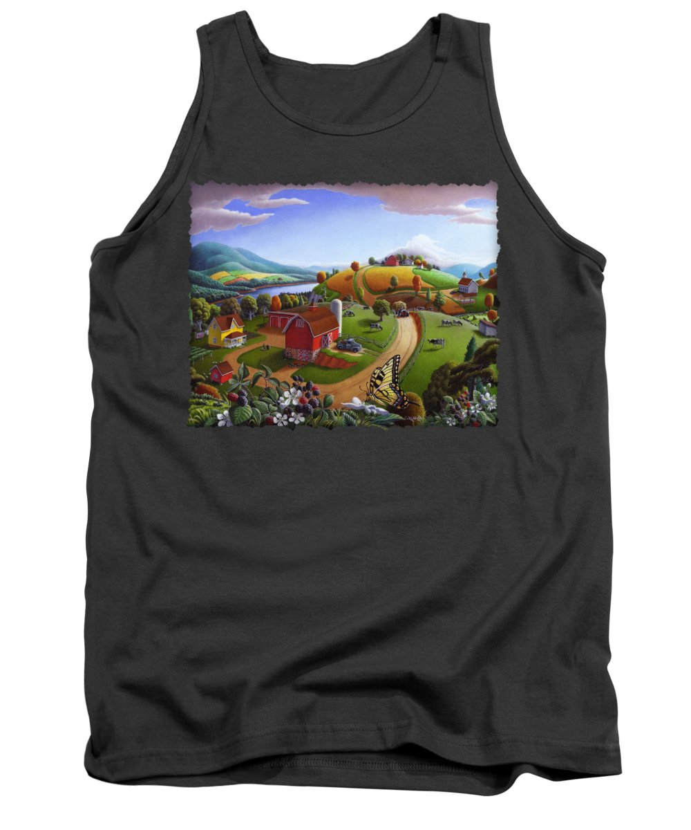 Folk Art Tank Top featuring the painting Folk Art Blackberry Patch Rural Country Farm Landscape Painting - Blackberries Rustic Americana by Walt Curlee