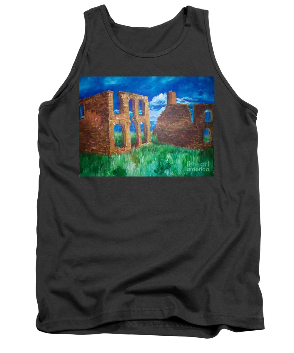 Western_landscapes Tank Top featuring the painting Ghost Town by Eric Schiabor