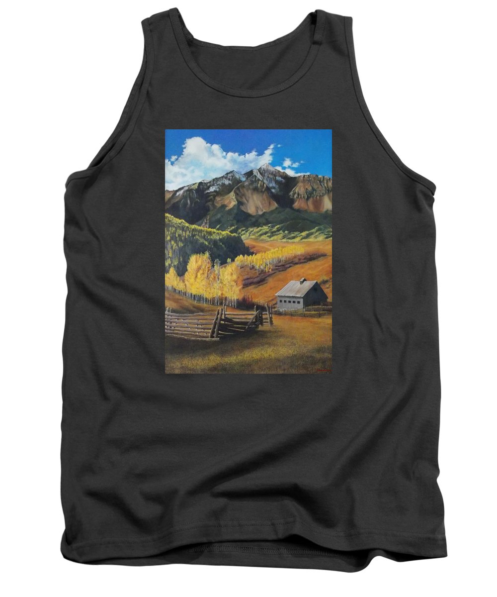 Colorado Rockies Tank Top featuring the painting I Will Lift Up My Eyes To The Hills Autumn Nostalgia Wilson Peak Colorado by Anastasia Savage Ealy
