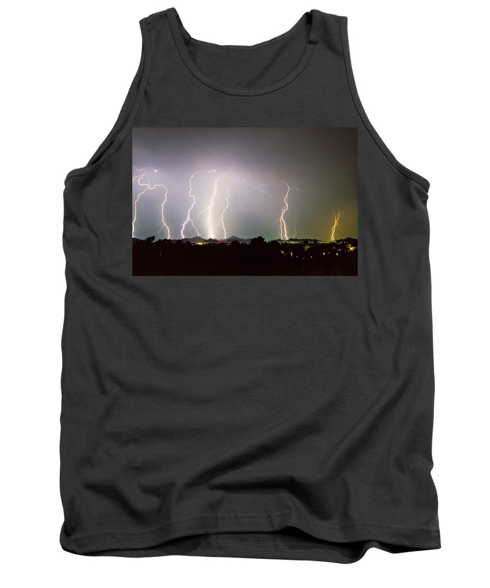 Arizona Tank Top featuring the photograph Lightning Thunderstorm View From Oaxaca Restaurant  by James BO Insogna