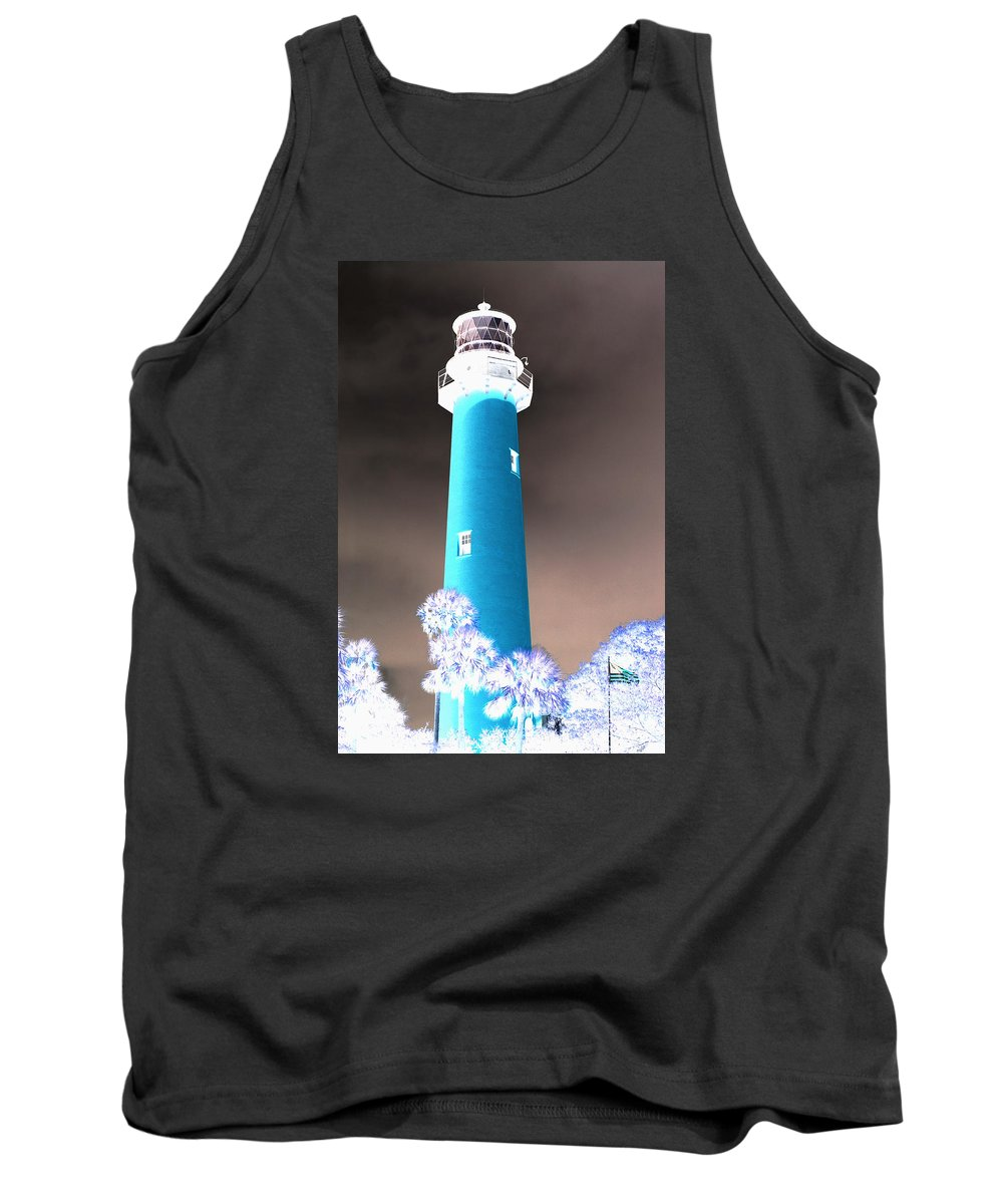 Fishing Tank Top featuring the pyrography The Lighthouse by Artistic Panda
