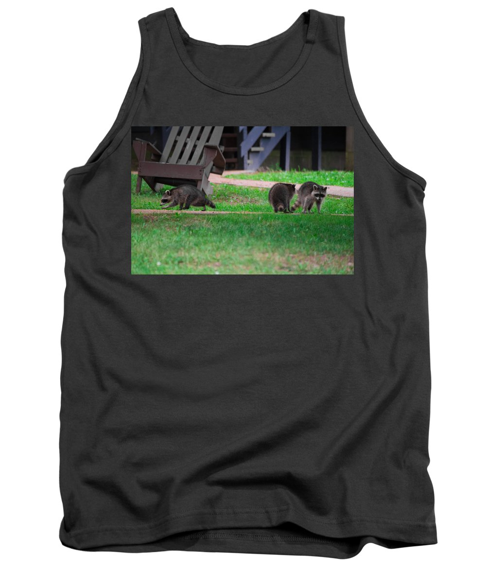 Southern Illinois Tank Top featuring the photograph #02 Raccoon Race by John Diebolt