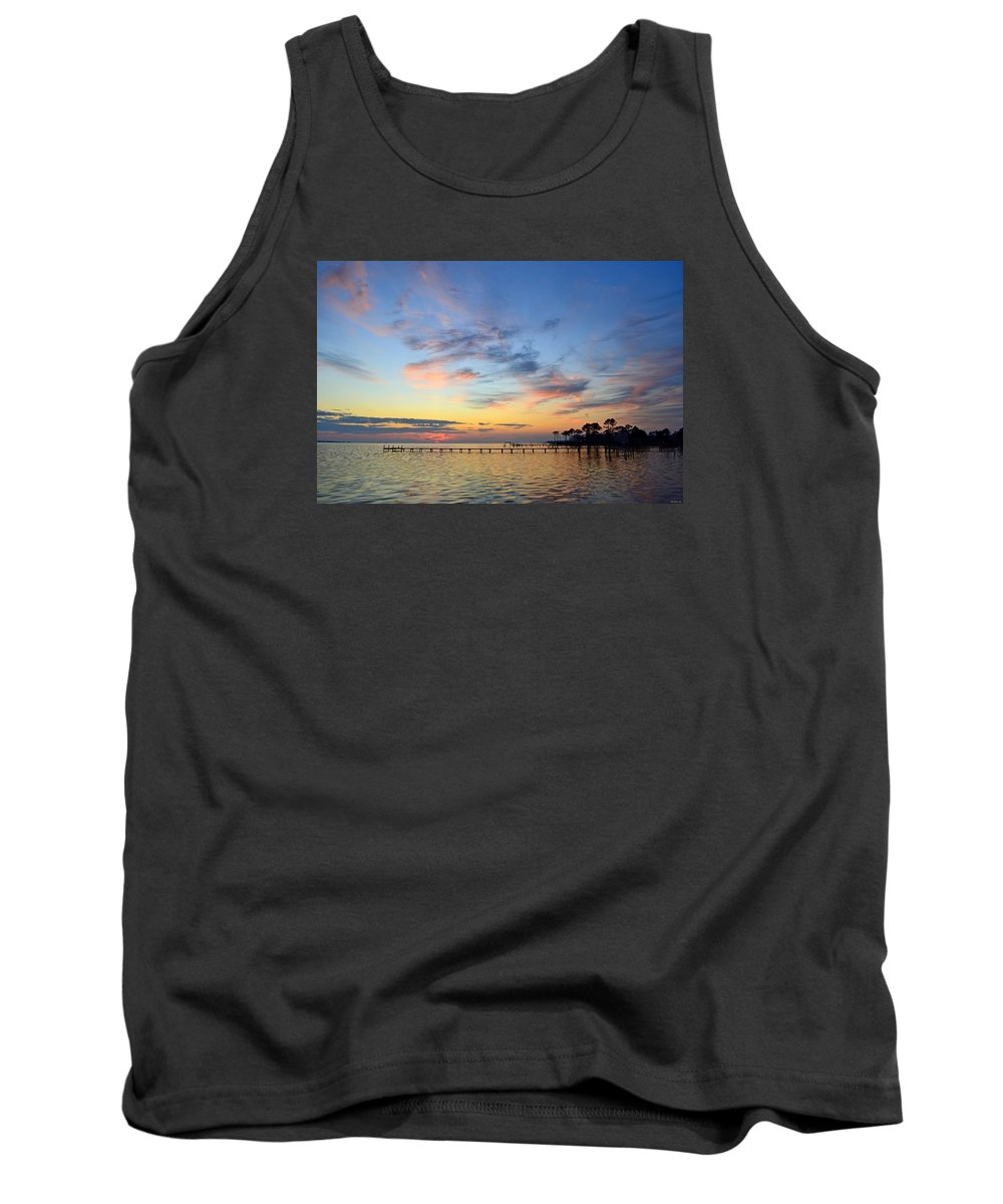 20120201 Tank Top featuring the photograph 0201 Sunset Wisps On Sound by Jeff at JSJ Photography