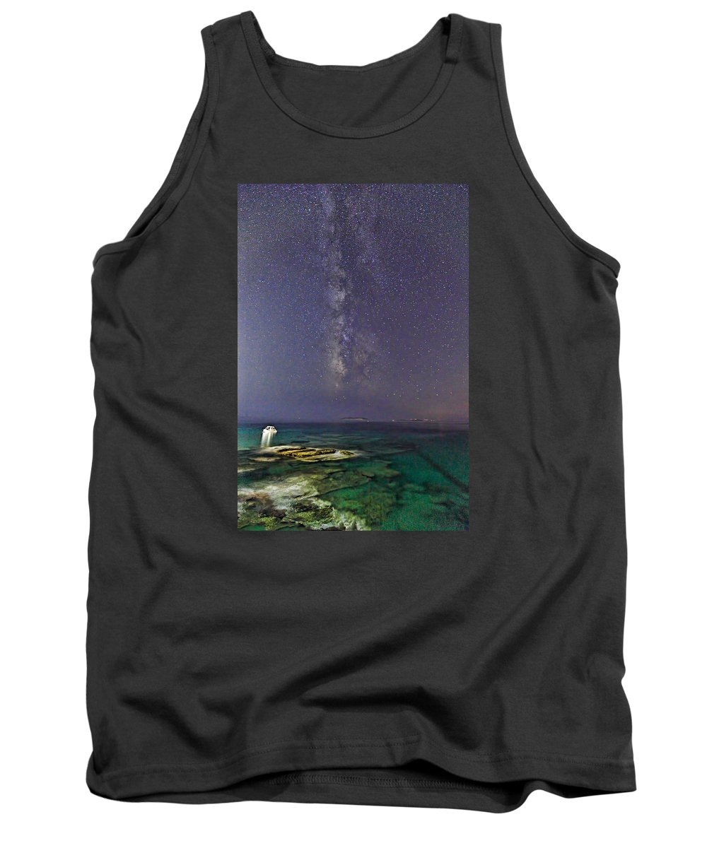 Boat Tank Top featuring the photograph A Boat Under The Milky Way In Andros - Greece by Constantinos Iliopoulos
