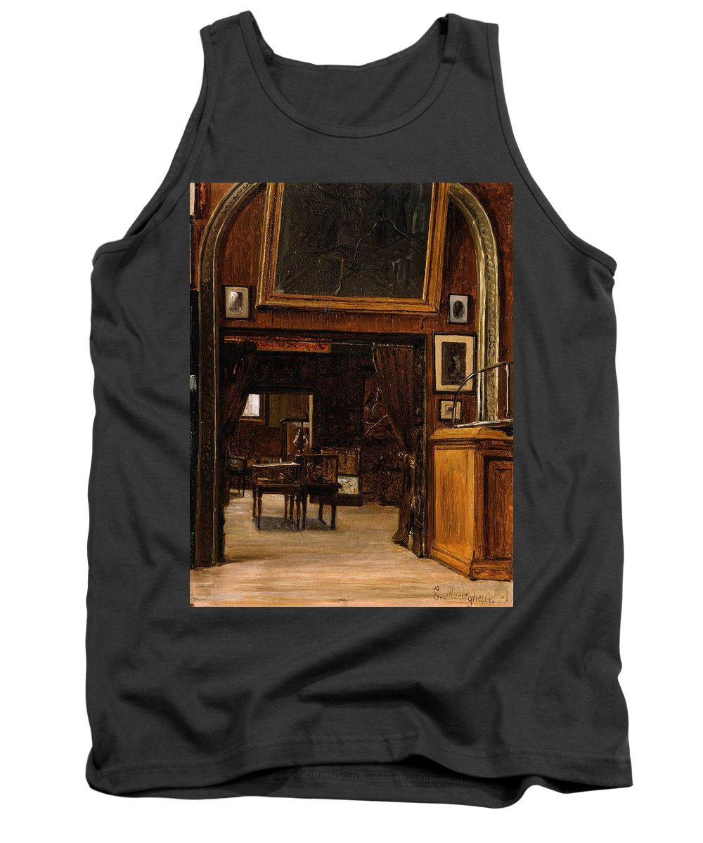 A Gallery In The Old Museum 1879 Painting Tank Top featuring the painting A Gallery In The Old Museum by MotionAge Designs