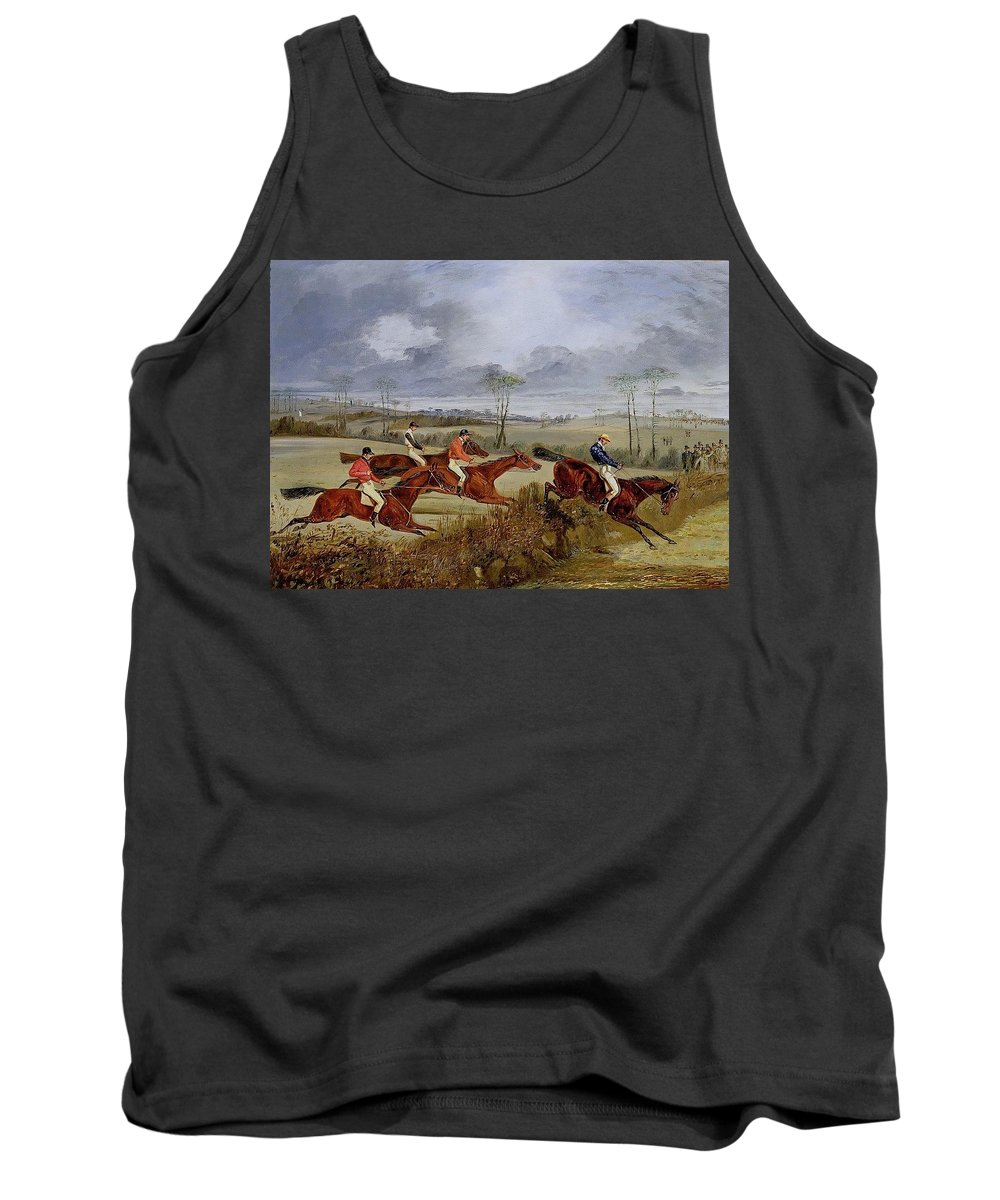 Beach Tank Top featuring the digital art A Steeplechase - Near The Finish Henry Thomas Alken by Eloisa Mannion