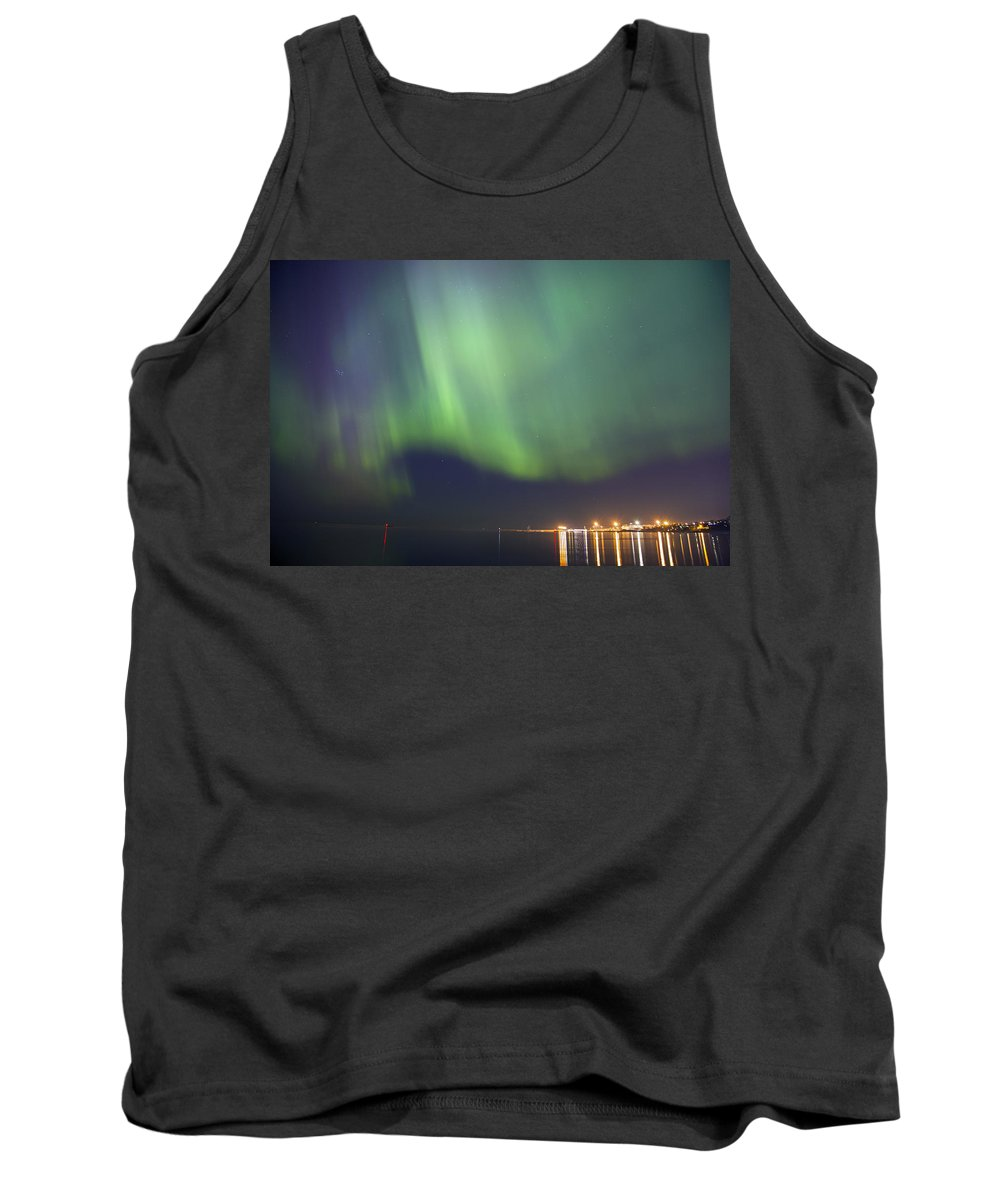 Astronomy Tank Top featuring the photograph Aurora Borealis Northern Lights Over City Of Tallinn North Europe by Sandra Rugina