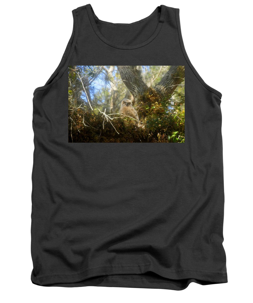 Great Horned Owl Tank Top featuring the photograph Babe In The Woods by David Lee Thompson