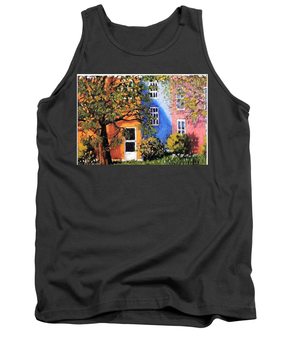 Scenic Tank Top featuring the painting Backyard by Jonathan Carter