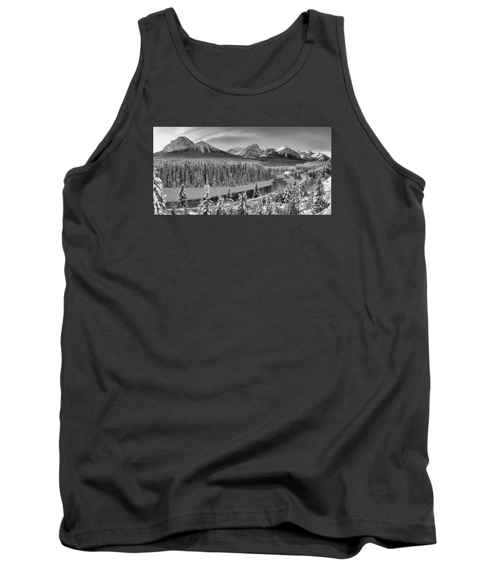 Tank Top featuring the photograph Banff Bow River Black And White by Adam Jewell