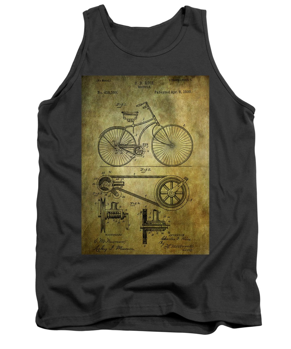 Bicycle Tank Top featuring the photograph Bicycle Patent From 1890 by Chris Smith