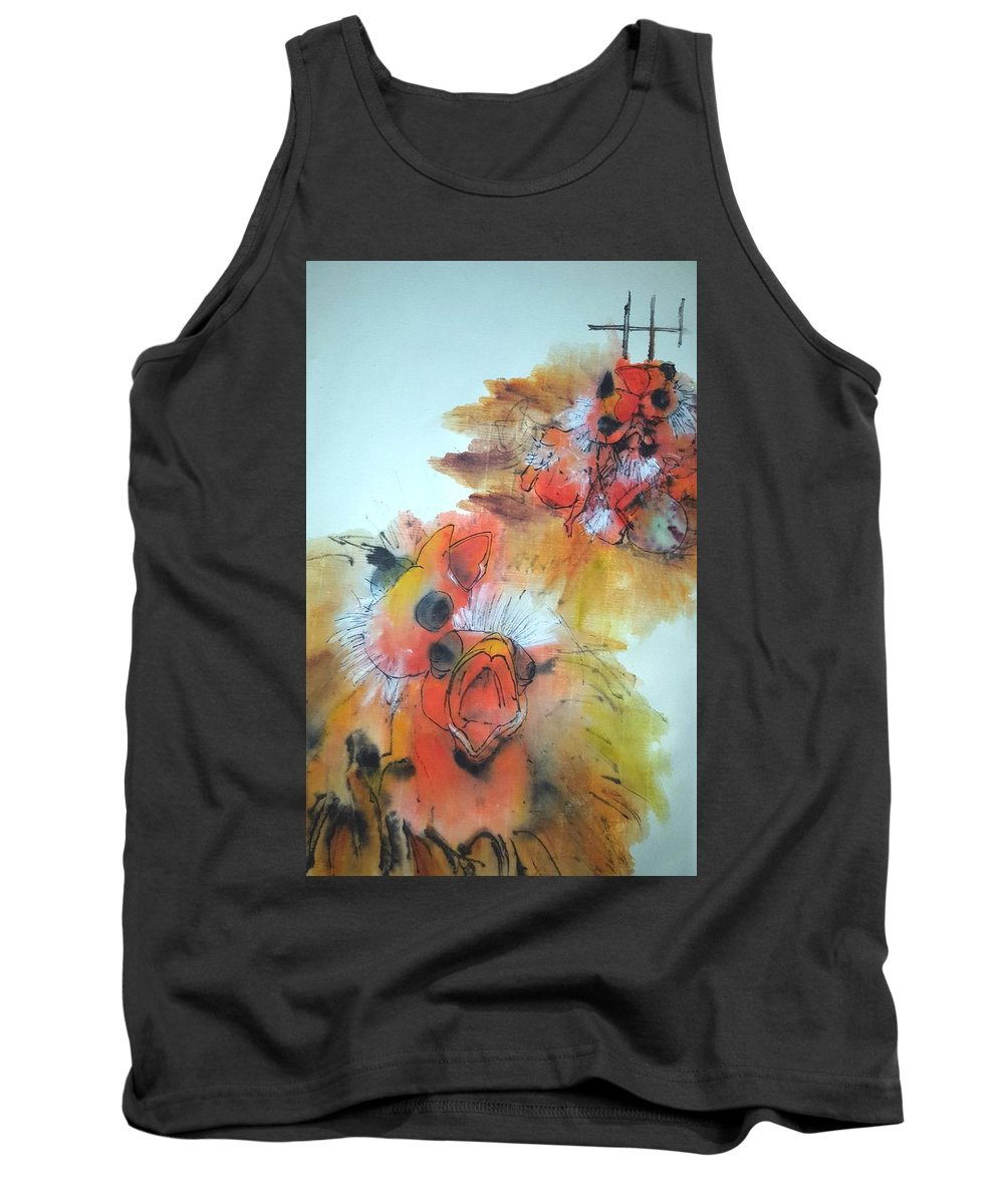 Birds. Canary. Red. Baby Tank Top featuring the painting Birds Birds Birds Album by Debbi Saccomanno Chan