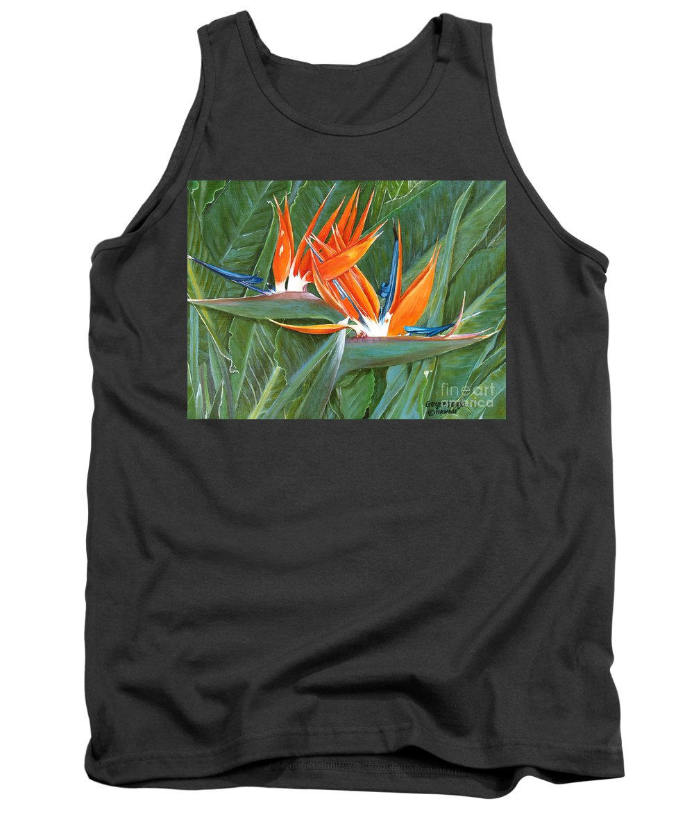 Floral Tank Top featuring the painting Birds Of Paradise by Larry Geyrozaga