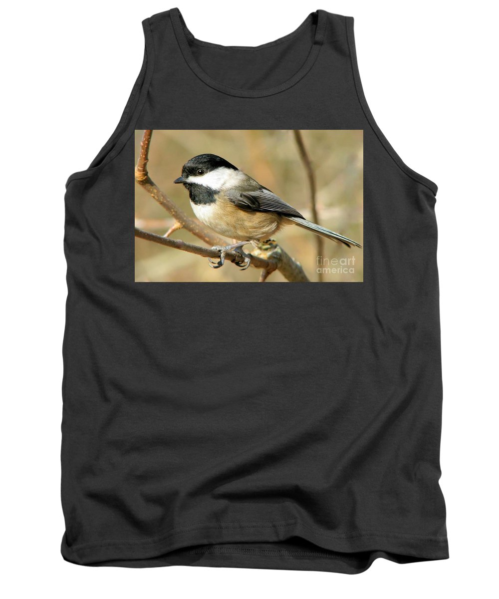 Animal Tank Top featuring the photograph Black-capped Chickadee by Frank Townsley