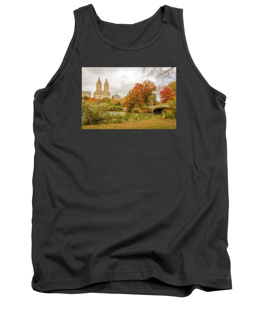 Central Park Tank Top featuring the photograph Bow Bridge In Autumn by June Marie Sobrito