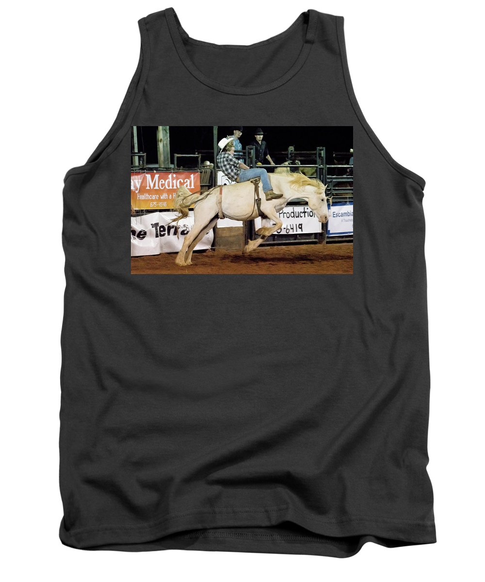 Horse Tank Top featuring the photograph Bronc Riding by Glenn Matthews