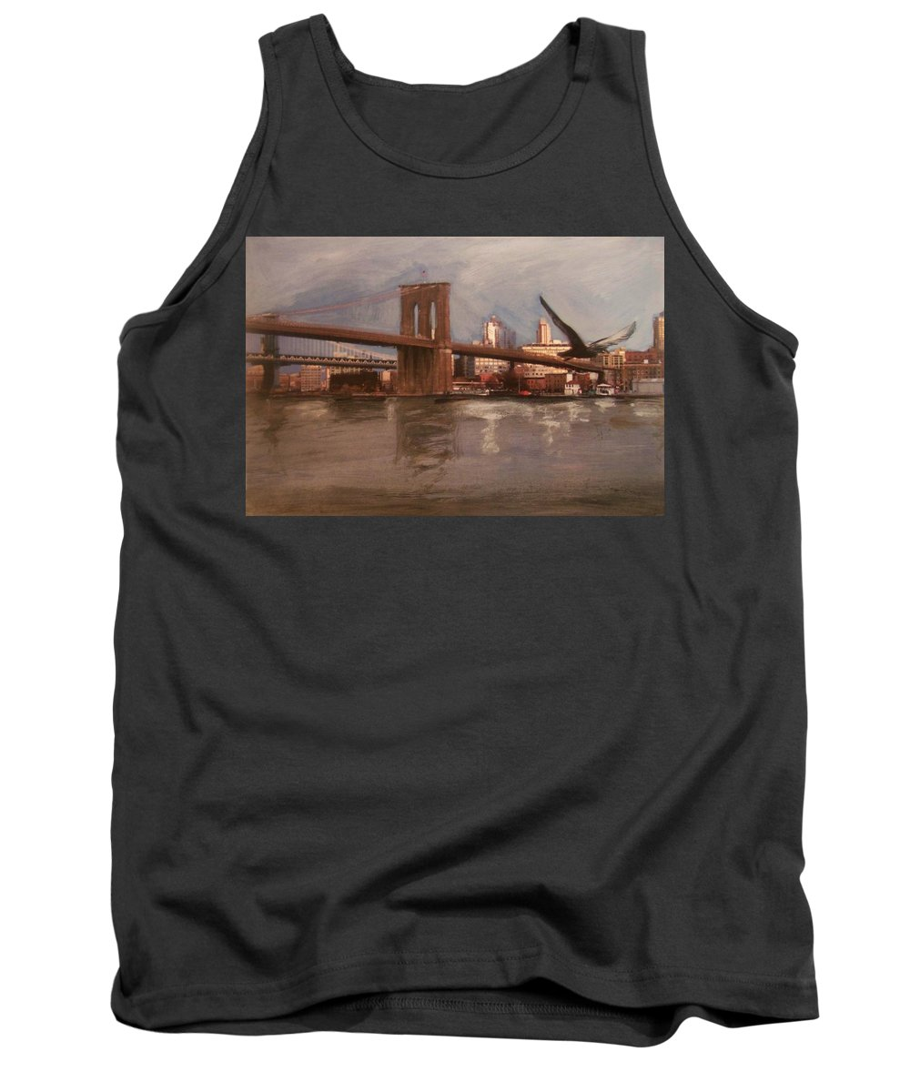 Brooklyn Bridge Tank Top featuring the painting Brooklyn Bridge by Anita Burgermeister