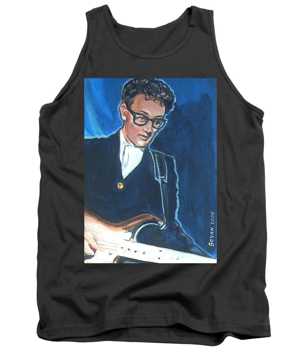 Buddy Holly Tank Top featuring the painting Buddy Holly by Bryan Bustard