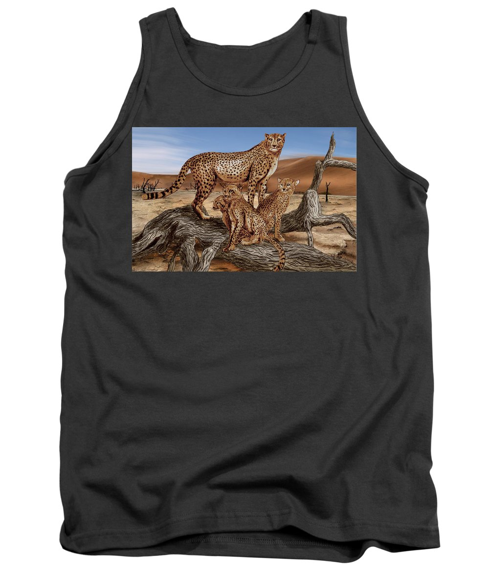 Cheetah Family Tree Tank Top featuring the drawing Cheetah Family Tree by Peter Piatt