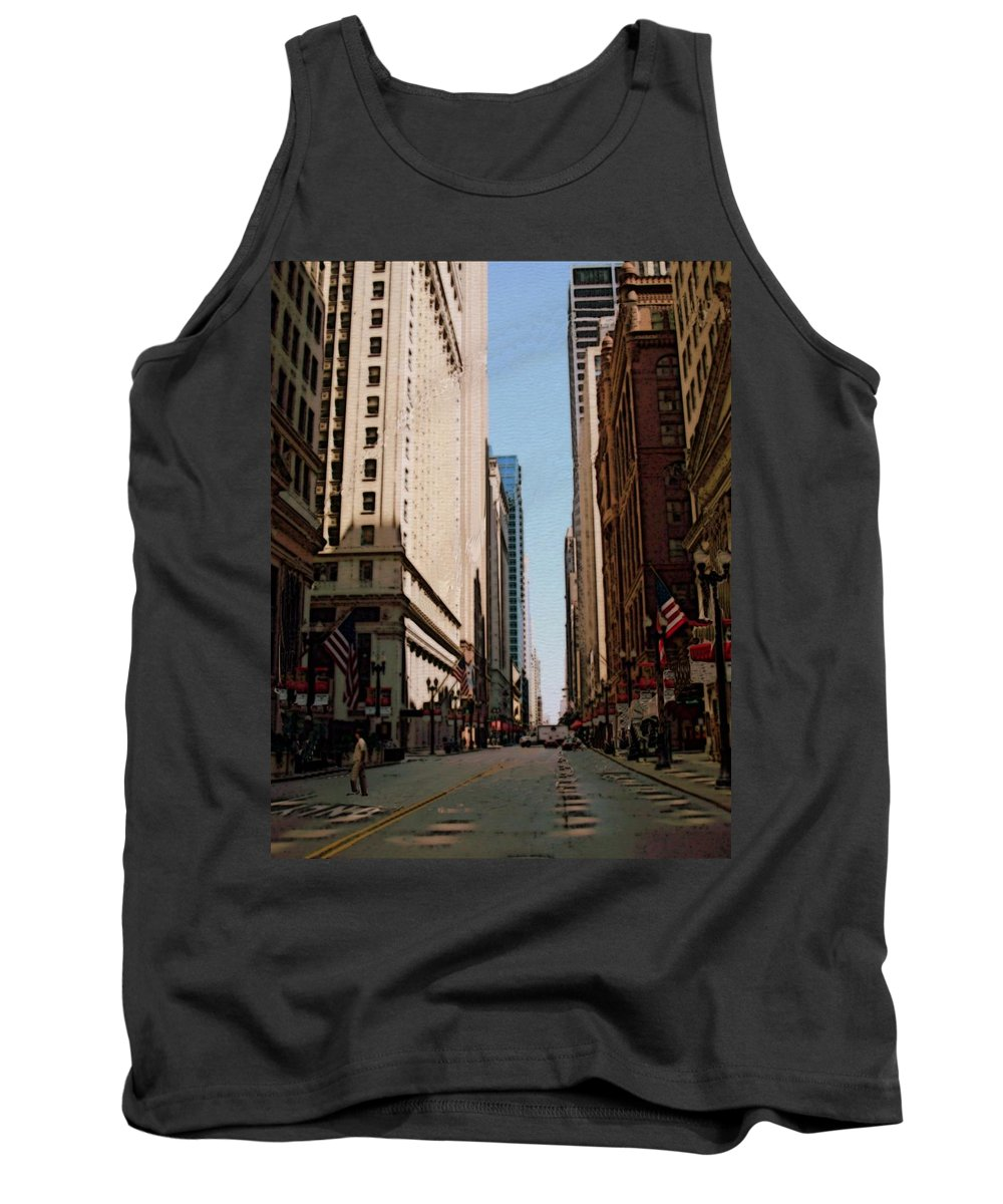 Chicago Tank Top featuring the digital art Chicago Street With Flags by Anita Burgermeister