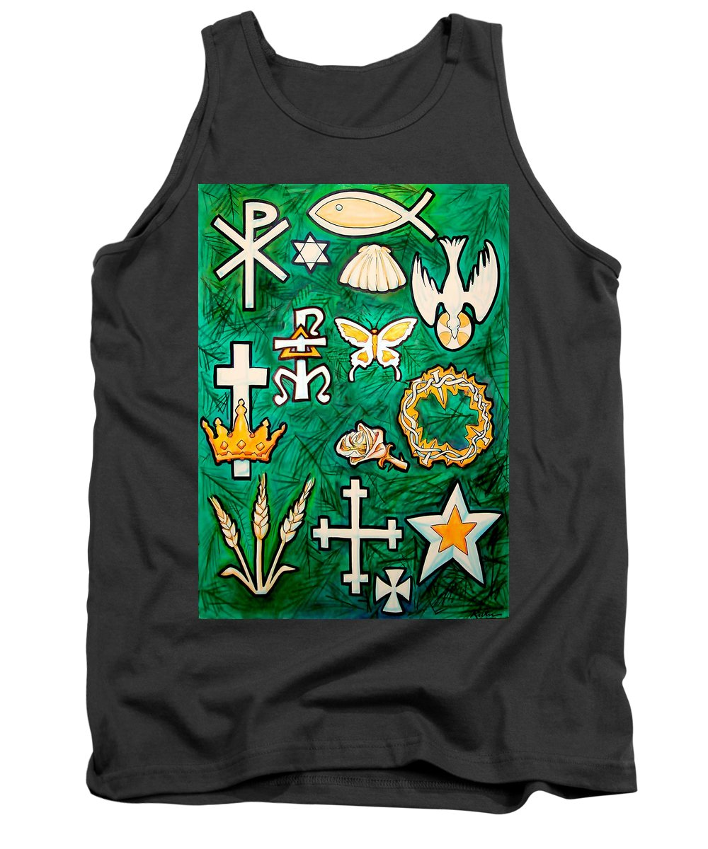 Chrismons Tank Top featuring the painting Chrismons by Kevin Middleton