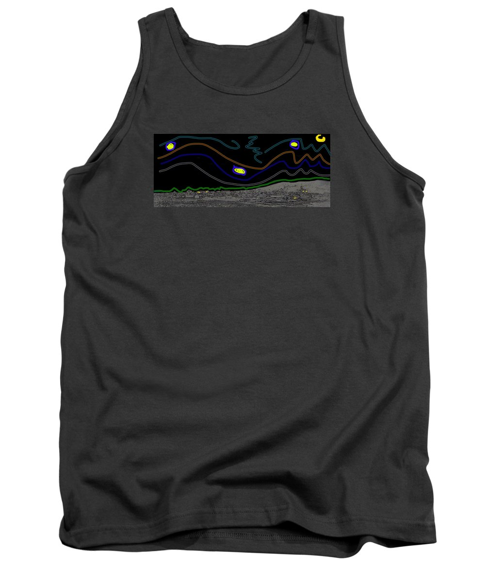 Collage Tombstone Arizona 1882 Vincent Van Gogh Starry Night Sky 1887-2008 Tank Top featuring the photograph Collage Tombstone Arizona 1882 Vincent Van Gogh Starry Night Sky 1887-2008 by David Lee Guss