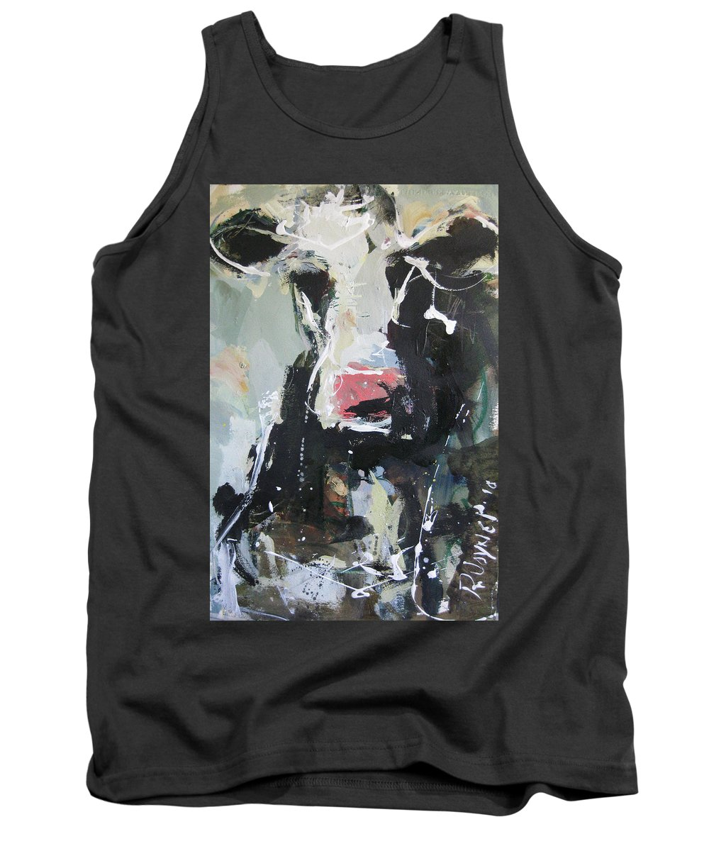 Tank Top featuring the painting Cow Portrait by Robert Joyner