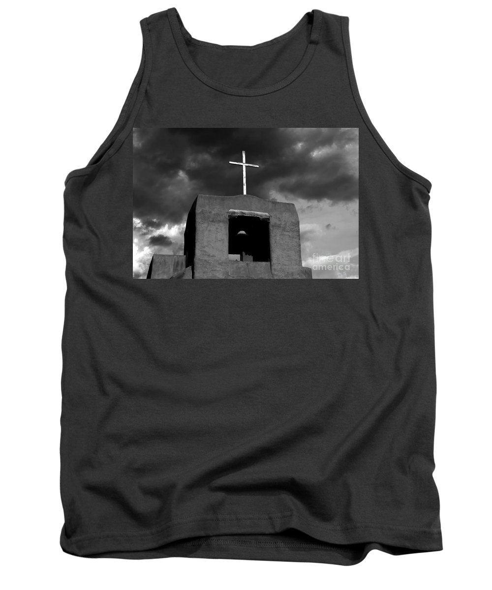 Cross Tank Top featuring the photograph Cross And Bell by David Lee Thompson