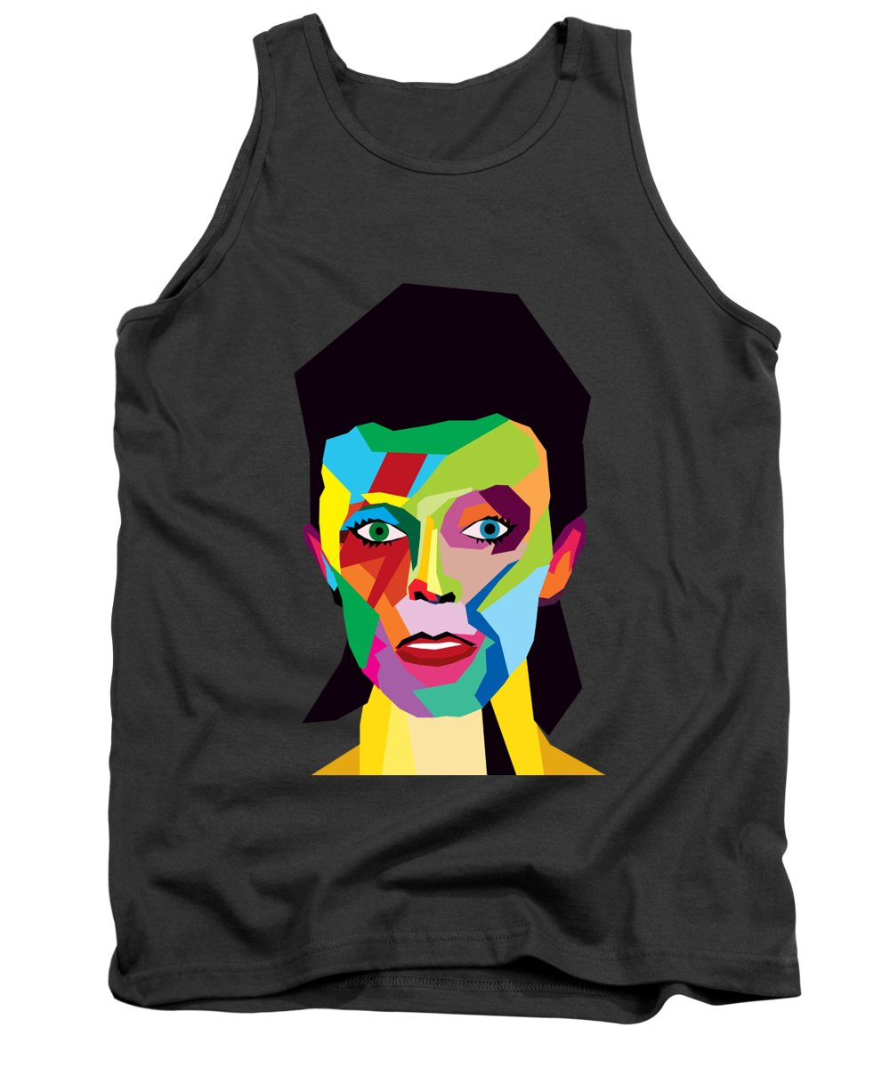 Wpap Tank Top featuring the painting David Bowie by Mark Ashkenazi