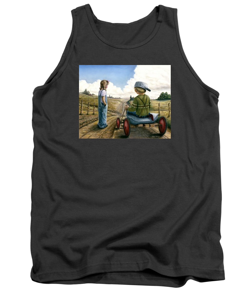 Children Playing Tank Top featuring the painting Down Hill Racer by Lance Anderson