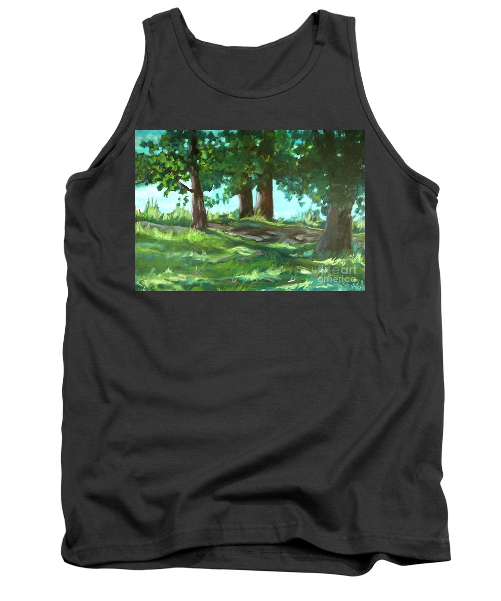 Expressionist Landscape Tank Top featuring the painting Dreaming On Fellows Lake by Jan Bennicoff