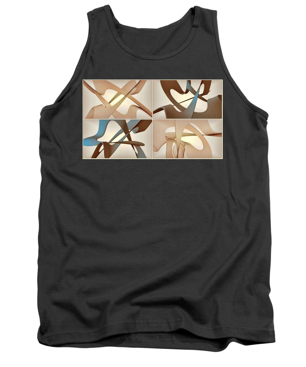 3d Tank Top featuring the digital art F S - Foursome Shapeallization by Nenad Cerovic