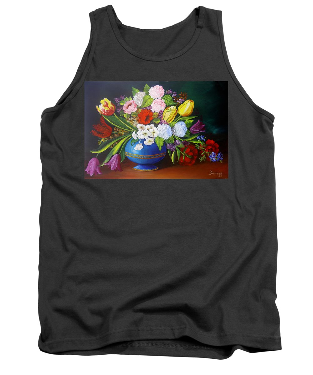 Colorful Tank Top featuring the painting Flowers In A Vase by Dominica Alcantara