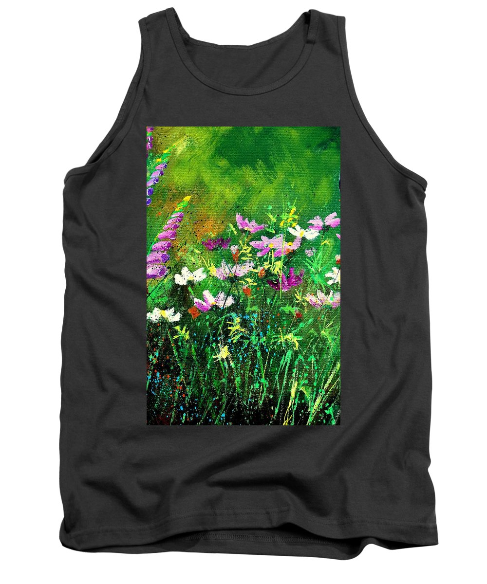 Flowers Tank Top featuring the painting Garden Flowers by Pol Ledent