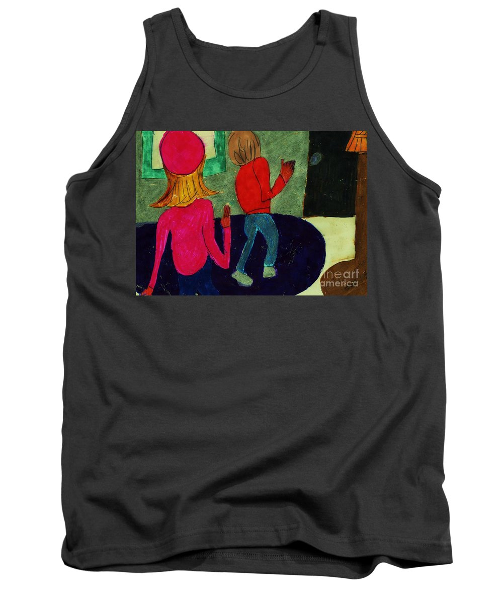Girl In A Pink Hat Boy Leaving To Go Home Tank Top featuring the mixed media Going Home by Elinor Helen Rakowski