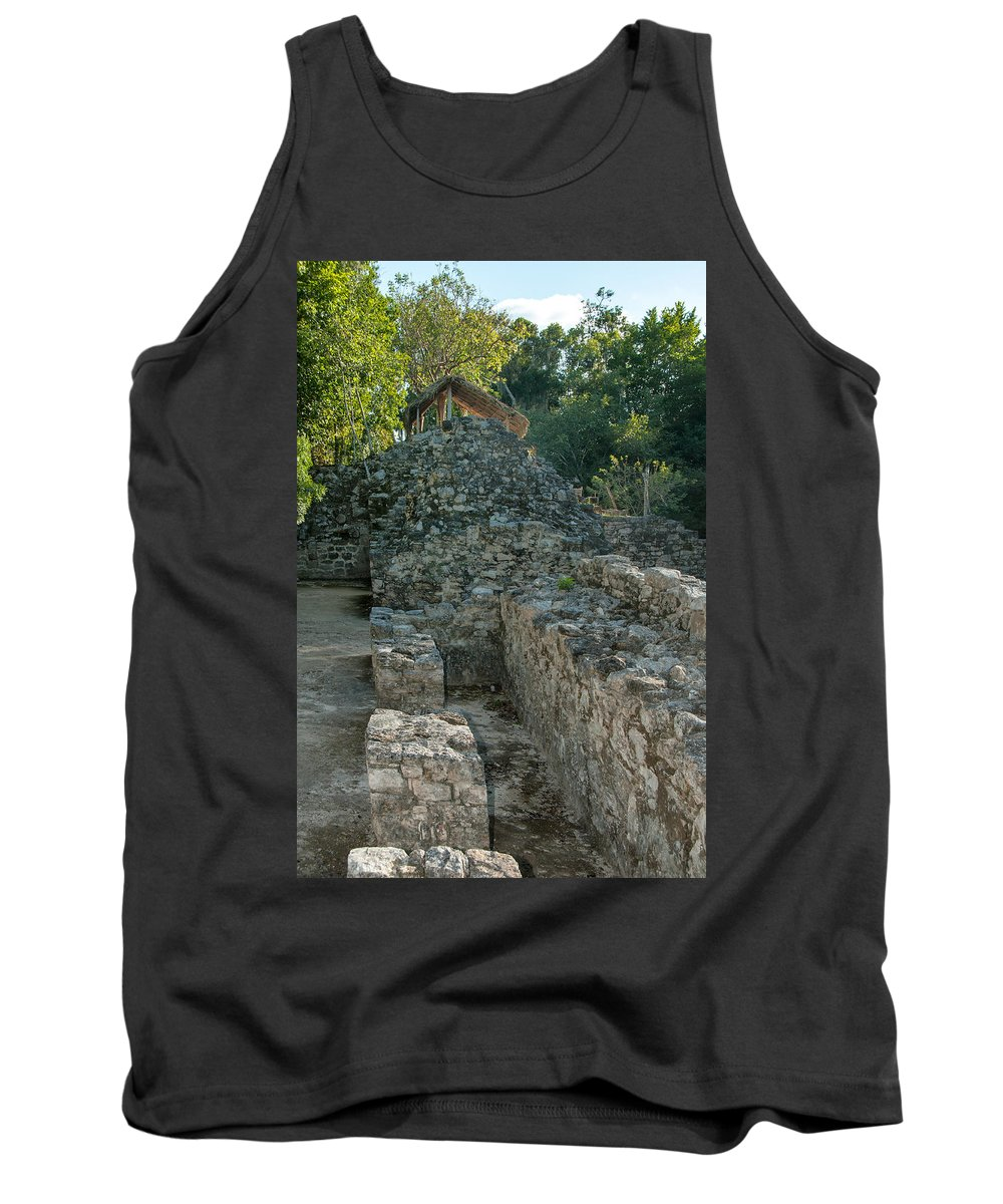 Mexico Quintana Roo Tank Top featuring the digital art Grupo Coba At The Coba Ruins by Carol Ailles