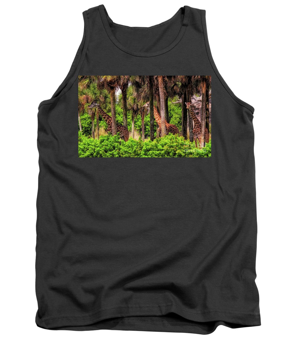 Giraffe Tank Top featuring the photograph Hide And Seek by Paulette Thomas