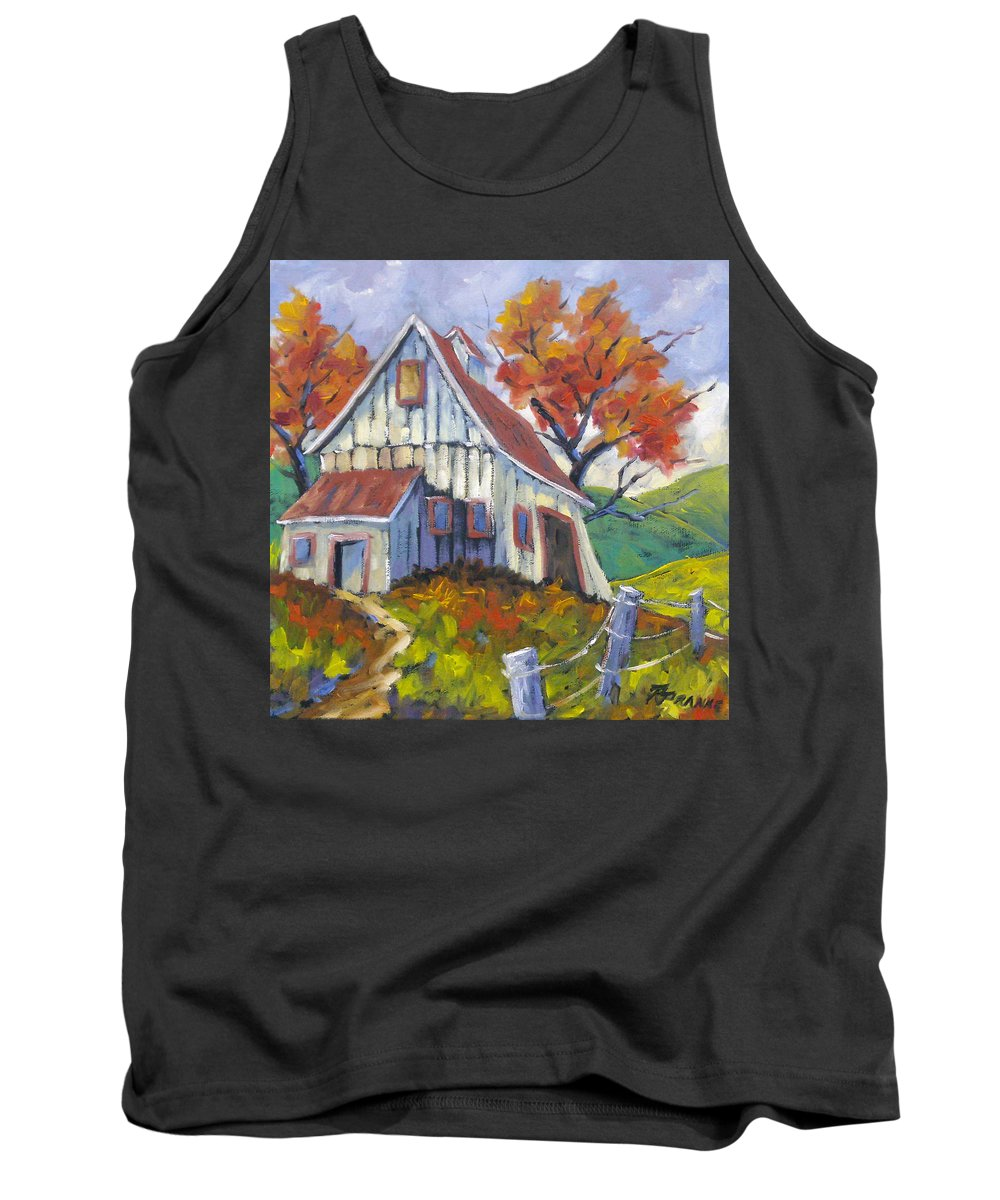 Hill Tank Top featuring the painting Hillsidebarn by Richard T Pranke
