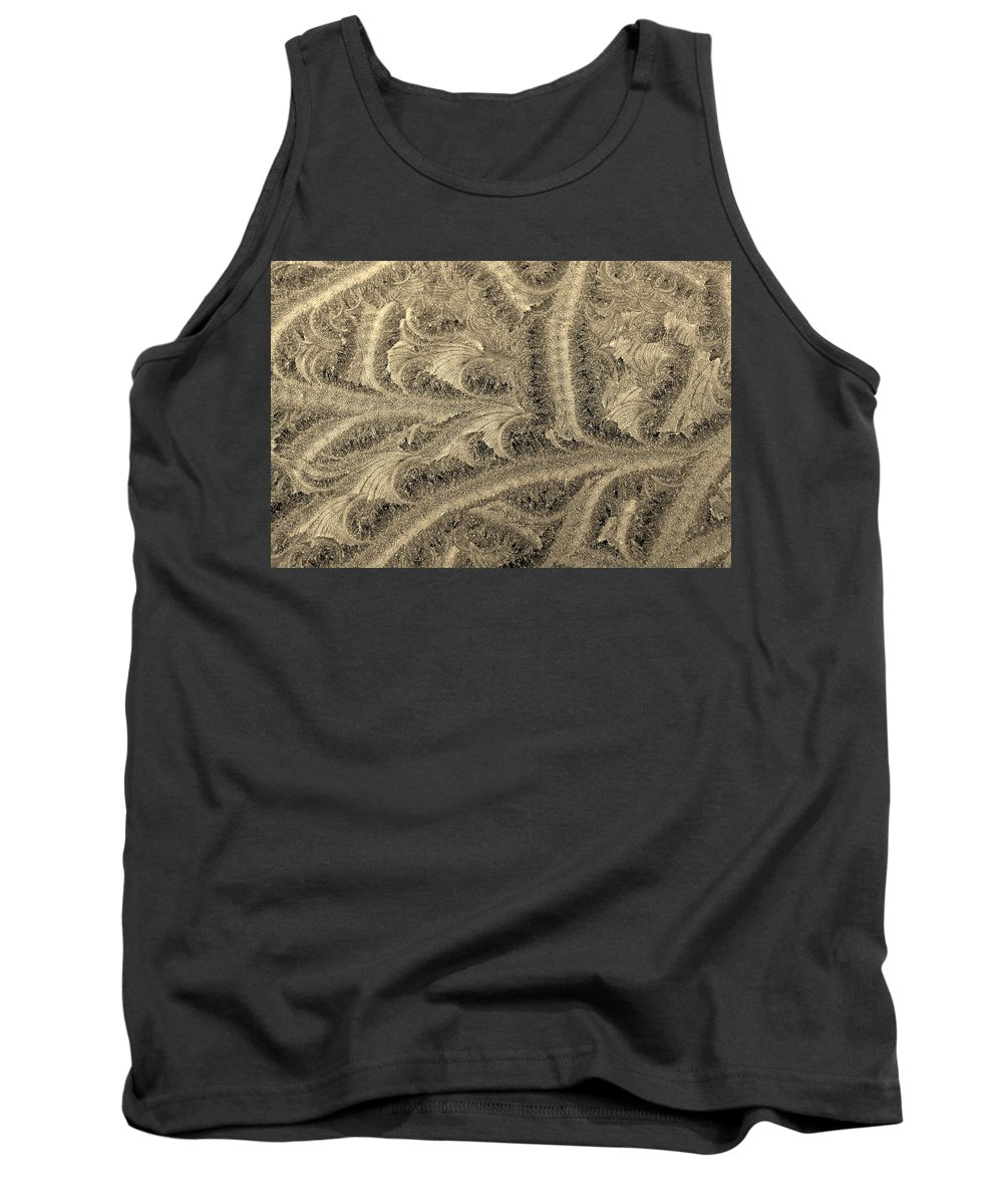 Hoarfrost Tank Top featuring the photograph Extraordinary Hoarfrost Scallop Patterns In Sepia by Kim Bemis