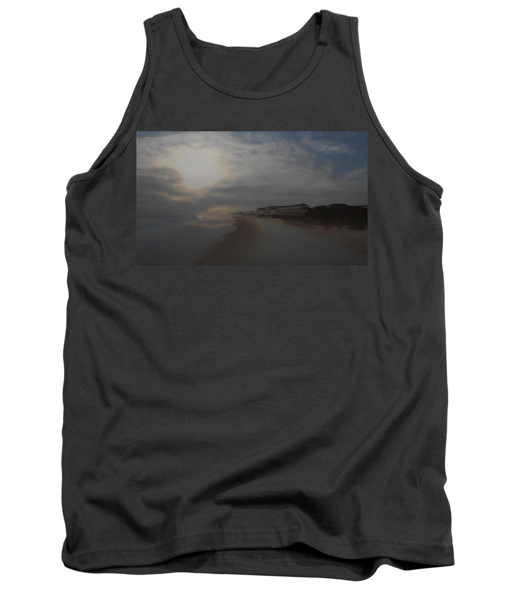 Beach Tank Top featuring the mixed media In The Misty Moonlight by Patricia Black