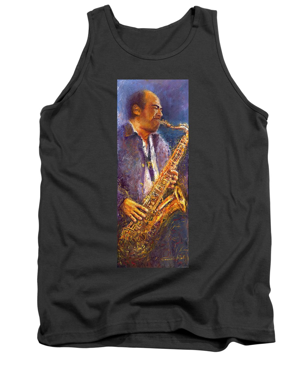 Jazz Tank Top featuring the painting Jazz Saxophonist by Yuriy Shevchuk