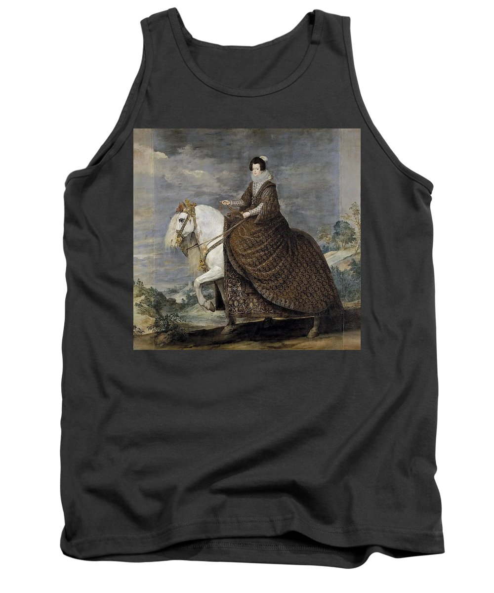 Bird Tank Top featuring the digital art La Reina Isabel De Borbn A Caballo Diego Rodriguez De Silva Y Velazquez by Eloisa Mannion