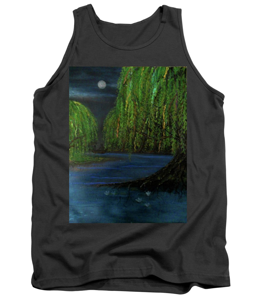 Recycle Tank Top featuring the mixed media Lagoon by Emily Perry