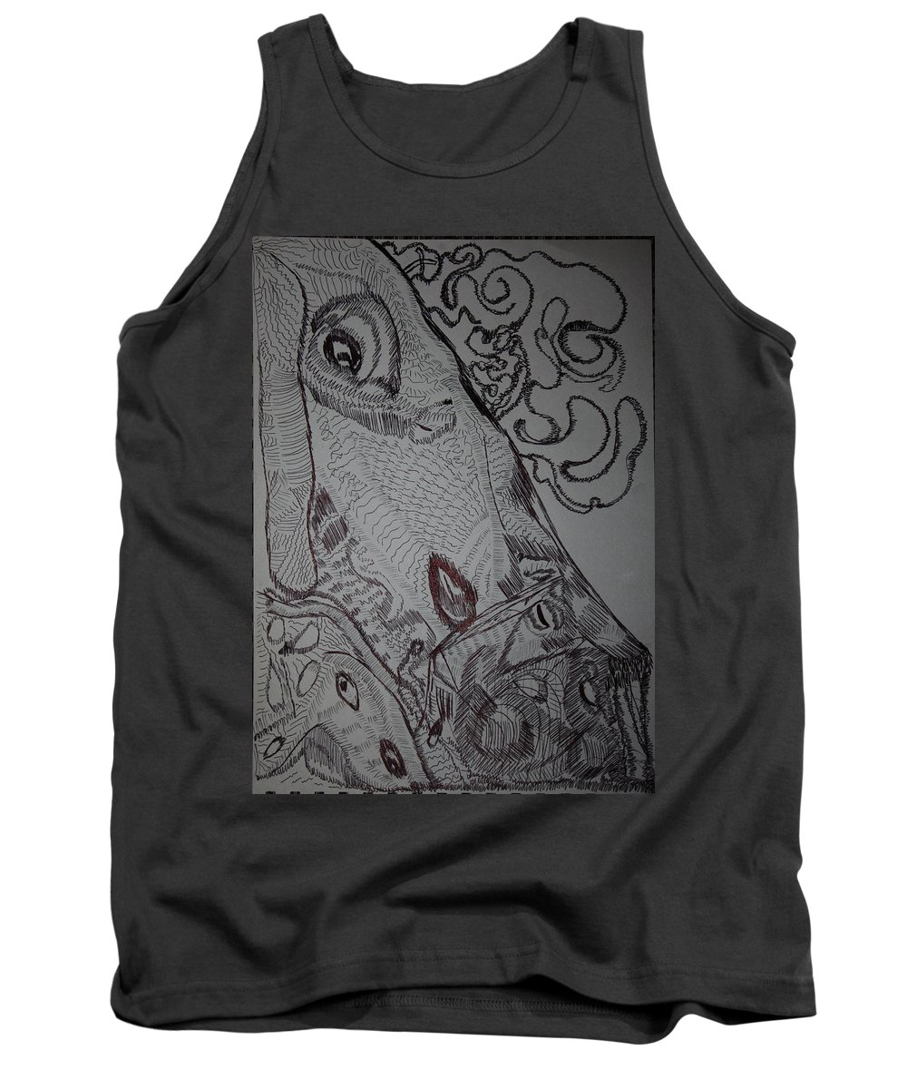 Tilesjesus Elohimplaquesmamamama Africa Twojesus Tank Top featuring the drawing Lamb Of God by Gloria Ssali