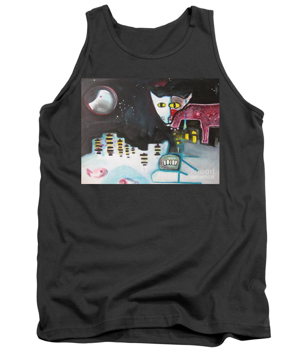 Cat Paintings Tank Top featuring the painting Let Me Out3 by Seon-Jeong Kim