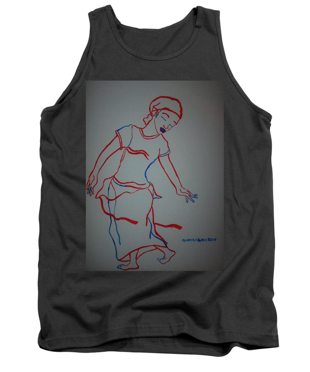 Jesus Tank Top featuring the painting Mali Traditional Dance by Gloria Ssali