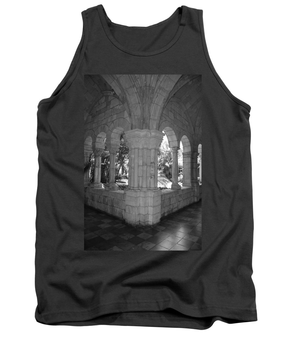 Black And White Tank Top featuring the photograph Miami Monastery In Black And White by Rob Hans