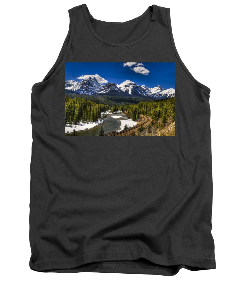 Banff Tank Top featuring the photograph Morant's Curve by Brandon Smith