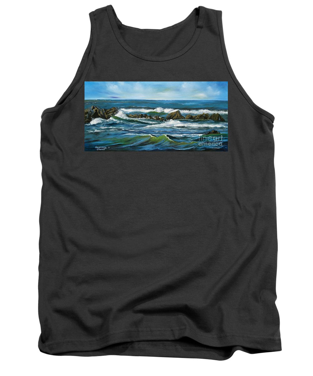 Seascape Tank Top featuring the painting Morning Rush by Larry Geyrozaga